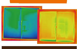 <サーモグラフィ 画像イメージ>青い程温度が低く、赤い程温度が高い事を示しています。